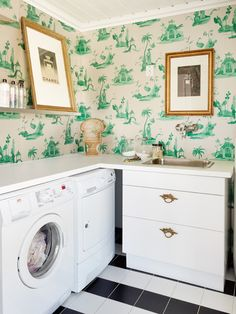 The laundry room has a wallpaper called Palais Chinois from Osborne & Little, furniture from IKEA and flooring by Megaflis