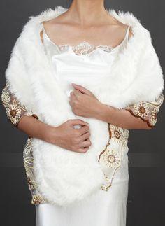 Wraps - $36.99 - Faux Fur Wedding Shawl (013037940) http://jjshouse.com/Faux-Fur-Wedding-Shawl-013037940-g37940