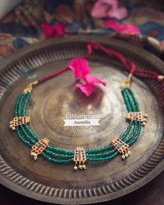 Check out this pretty beaded kemp chokers by two popualr jewelley brands called Adorna and Aabharanam. Gold Jewellery Design, Bead Jewellery, Beaded Jewelry, Pearl Necklace Designs, Crystal Bead Necklace, Gold Necklace, Gold Jewelry Simple, Stylish Jewelry, Indian Jewelry Sets