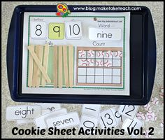 Cookie sheet activities for early numeracy!  Fun for your math centers.