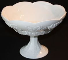 Vintage Indiana Glass Colony Harvest Milk Glass Fruit Compote Bowl Large
