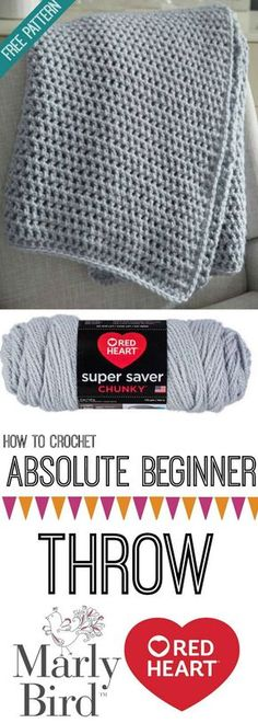 Learn how to crochet this summer with the My First With Marly Bird series! Grab … Learn how to crochet this summer with the My First With Marly Bird series! Grab your hook, some Super Saver Chunky, and get started on your first DIY throw! Crochet Diy, Crochet Afghans, Pull Crochet, Crochet Simple, Crochet Mittens, Crochet World, Crochet Geek, Crochet Blanket Patterns, Learn To Crochet