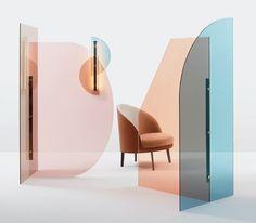Cloison en verre coloré VELA By arflex design Ellen Bernhardt, Paola Vella Glass Room Divider, Room Dividers, Deco Design, Lamp Design, Display Design, Design Case, Design Trends, Retail Design, Plexus Products