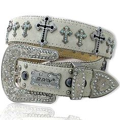 BLACK GLIMMER CROSS Rhinestone White Leather Belt M