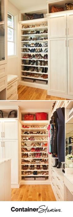 Brooke feels like she is walking into her favorite boutique every time she goes into to her new TCS Closet. Mirrored back panels make her shoe collection shine. It's her favorite thing in the closet! Purses and handbags take the spotlight on nearby shelves.