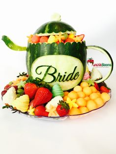 Carved watermelon teapot for a Bridal Tea Party. #teaparty #teapot