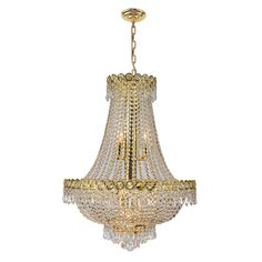 """French Empire Collection 12 Light Gold Finish and Clear Crystal Chandelier 20"""" x 28"""""""