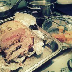 Carre de cerdo relleno con manzana caramelizada