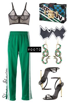 """#OOTD - Isabel Marant Track Pants, Louis Vuitton Clutch, Tom Ford Sandals"" by adswil ❤ liked on Polyvore featuring La Perla, Étoile Isabel Marant, Linda Farrow, Alberta Ferretti and Tom Ford"