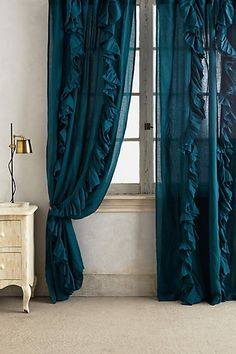 Wandering Pleats Curtain - love the turqouise and the ivory