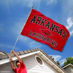 Arkansas Razorbacks University Large College Flag by College Flags and Banners Co.. Save 25 Off!. $29.95. Made of Polyester with Quadruple-Stitched Flyends for Durability. Perfect for your Home Flagpole, Tailgating, or Wall Decoration. College Logos viewable on Both Sides (Opposite side is a reverse image). 3'x5' in Size with two Metal Grommets for attaching to your Flagpole. Officially Licensed and Approved by University of Arkansas. Our Arkansas Razorbacks Flag measures 3x5 feet in size...