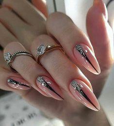 Blush Nails, Neutral Nails, Pink Nails, Glitter Nails, Elegant Nails, Stylish Nails, Perfect Nails, Gorgeous Nails, Stiletto Nails