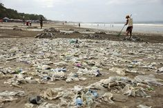 A tsunami of plastic rubbish has swamped Bali's iconic beachfront for a week or more, defying daily efforts to clean it up.