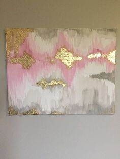 Beautiful abstract painting, acrylic medium with 14k gold leaf Light Pink + White + Grey Acrylic 20 x 16 stretched canvas Message me if you have any questions or would like a similar product! I also do commissions! :)