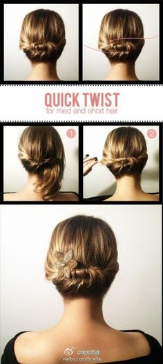 Peinados: Recogido Short hair chignon - The Beauty Department Five Minute Hairstyles, Twist Hairstyles, Cool Hairstyles, Summer Hairstyles, Wedding Hairstyles, Creative Hairstyles, Woman Hairstyles, Hairstyles 2016, Nurse Hairstyles