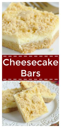 Cheesecake Bars – Delicious layered bars with a sugar cookie crust, cheesecake filling, and a crumb topping. Perfect for cheesecake fans! Cheesecake Recipe | Cheesecake Bars Recipe | Cheesecake Dessert #dessert #FreakyFridayRecipes #recipe #easyrecipe #christmas #easydessert