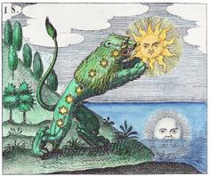 The green lion devours the sun, coloured by Adam McClean