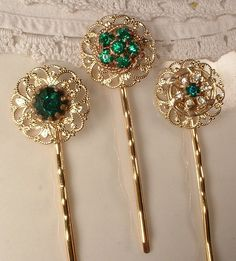 Vintage Emerald Green and Gold Hair Pins
