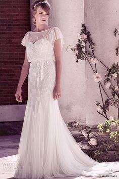 Top 100 #Wedding Dresses #bridal ellis bridal 2015 wedding dress vintage flutter sheer sleeves sequins embellishment tulle fluted blouson gown style 15160