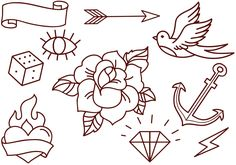 Set of free old school tattoos which include rose, flaming heart and simpler elements like dice, eye or anchor
