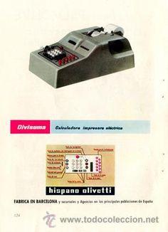 Página Publicidad Original *HISPANO OLIVETTI · Divisuma: Calculadora Impresora Eléctrica* - Año 1957