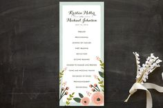 """English Floral Garden"" - Floral & Botanical Unique Wedding Programs in Peony by Karidy Walker."