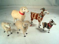 antique putz Christmas lambs