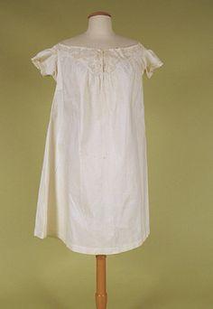 LADY'S WHITE COTTON & SOUTACHE CHEMISE, 1860-1880