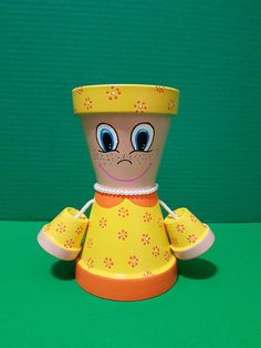Yellow Little Miss Garden Friend Clay Pot People Terracotta