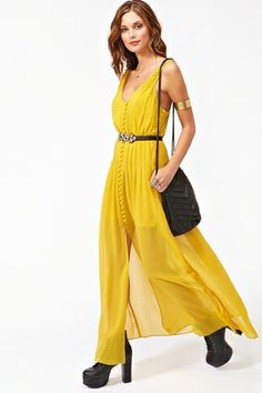 Mustard chiffon maxi dress