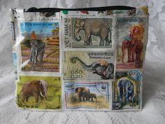 Postage Stamp Purse - Elephants
