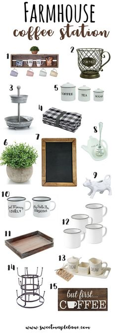 Lots of cute farmhouse style accessories for your coffee station or coffee bar or tea station! Coffee Bar Station, Tea Station, Home Coffee Stations, Coffee Station Kitchen, Keurig Station, Coffee Bars In Kitchen, Coffee Bar Home, Coffee Wine, Coffee Nook