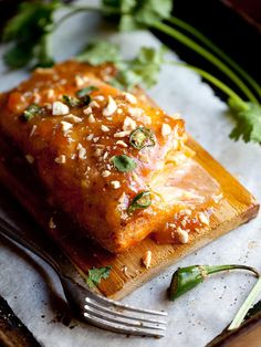 Baked Salmon with Spicy Plum Preserve by Foodie Crush http://www.foodiecrush.com/
