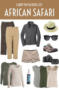 A safari carry on packing list – what you need to take with you for an African safari, from clothing and footwear to toiletries and accessories.