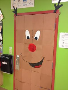 holiday school, christmas holidays, door decor