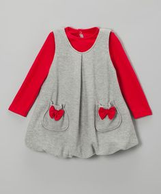 Loving this Red Top & Gray Bubble Jumper - Infant & Toddler on #zulily! #zulilyfinds