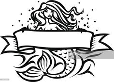 Black and white illustration of mermaid with banner. Free Illustrations, Black And White Illustration, Illustration, Mermaid, Mermaid Tattoo, Stock Illustration, Mermaid On Rock, Art, Vector Art