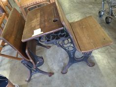 Antique school desk with a spot for your inkwell!