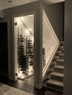 Wohnung We converted our closet under the stairs to a cool wine cellar. Under Stairs Wine Cellar, Wine Cellar Basement, Wine Cellar Design, Wine Cellar Modern, Glass Wine Cellar, Wine Glass, Home Wine Cellars, Home Bar Designs, Staircase Design