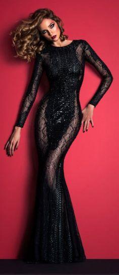 Miss Millionairess.  Zuhair Murad Black Evening Gown Fall 2014