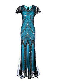 Evelyn Blue Beaded Flapper Dress 20s Great Gatsby Dress door Jywal
