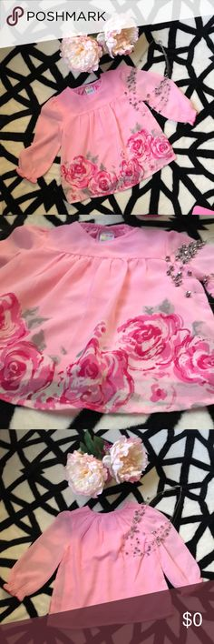 🔥FREE COMMENT 30$ order - Pink blouse - 18M🔥 🛍FREE WITH order of 30$ Write comment after purchase if you are interested!  HEALTHTEX BABY- pink roses blouse 🛍  EXCELLENT CONDITION Healthtex baby Shirts & Tops Blouses