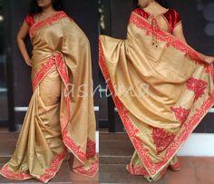 Code-1811155-Tussar Silk With Applique Work- Price INR:9700/-