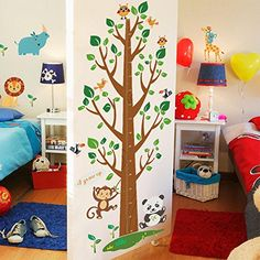 $12.77  - Wallpark Cartoon Cute Animals Monkey Lion Giraffe Big Tree Height Sticker Growth Height Chart Measuring Removable Wall Decal Children Kids Baby Home Room Nursery DIY Decorative Art Wall Mural * Click on the image for additional details. (This is an affiliate link) #WallStickersMurals
