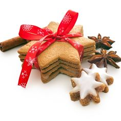 Photo about Home baked christmas cookies on white with red ribbon. Image of baked, food, closeup - 35403051 Gingerbread Cookies, Christmas Cookies, Happy Foods, Special Recipes, Christmas 2019, Cake Cookies, Cookie Decorating, Yummy Food, Chocolate