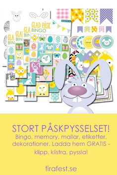 Ladda hem 3 små spel, mallar, etiketter och dekorationer. Klipp klistra, pyssla!   #påsk #påskpyssel #påskpysselbarn #påsklekar #äggjakt