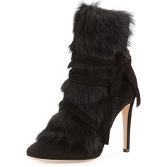 Gianvito Rossi Moritz Shearling-Trim Suede 105mm Bootie (2,204 CAD) ❤ liked on Polyvore featuring shoes, boots, ankle booties, suede lace up bootie, lace up ankle booties, suede lace-up booties, suede booties and suede ankle boots