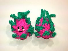 Rainbow Loom - 3D Happy DRAGON FRUIT Charm. Designed and loomed by Ellen Carpenter at feelinspiffy. Click photo for YouTube Tutorial. 10/04/14.