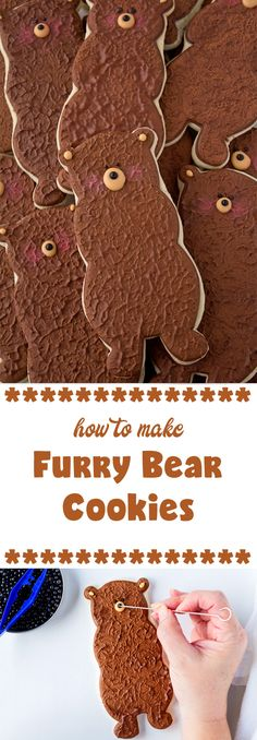 How to Make Fun Furry Bear Cookies Bear Cookies, Sweet Cookies, Cut Out Cookies, Cute Cookies, Vegetarian Chocolate, Chocolate Recipes, Gingerbread Cookies, Christmas Cookies, Paint Cookies