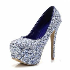 Powder blue personality full glitter decoration platform thin heels ultra high heels single shoes
